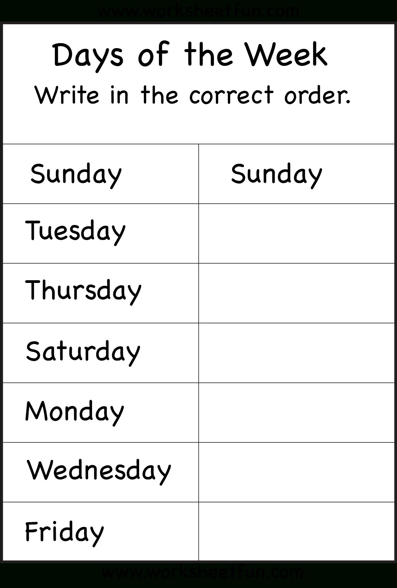 Days Of The Week 1 Worksheet Free Printable Worksheets