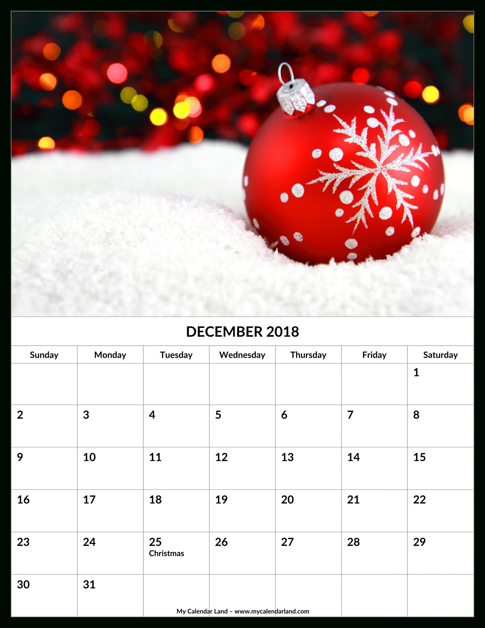 December 2018 Calendar My Calendar Land