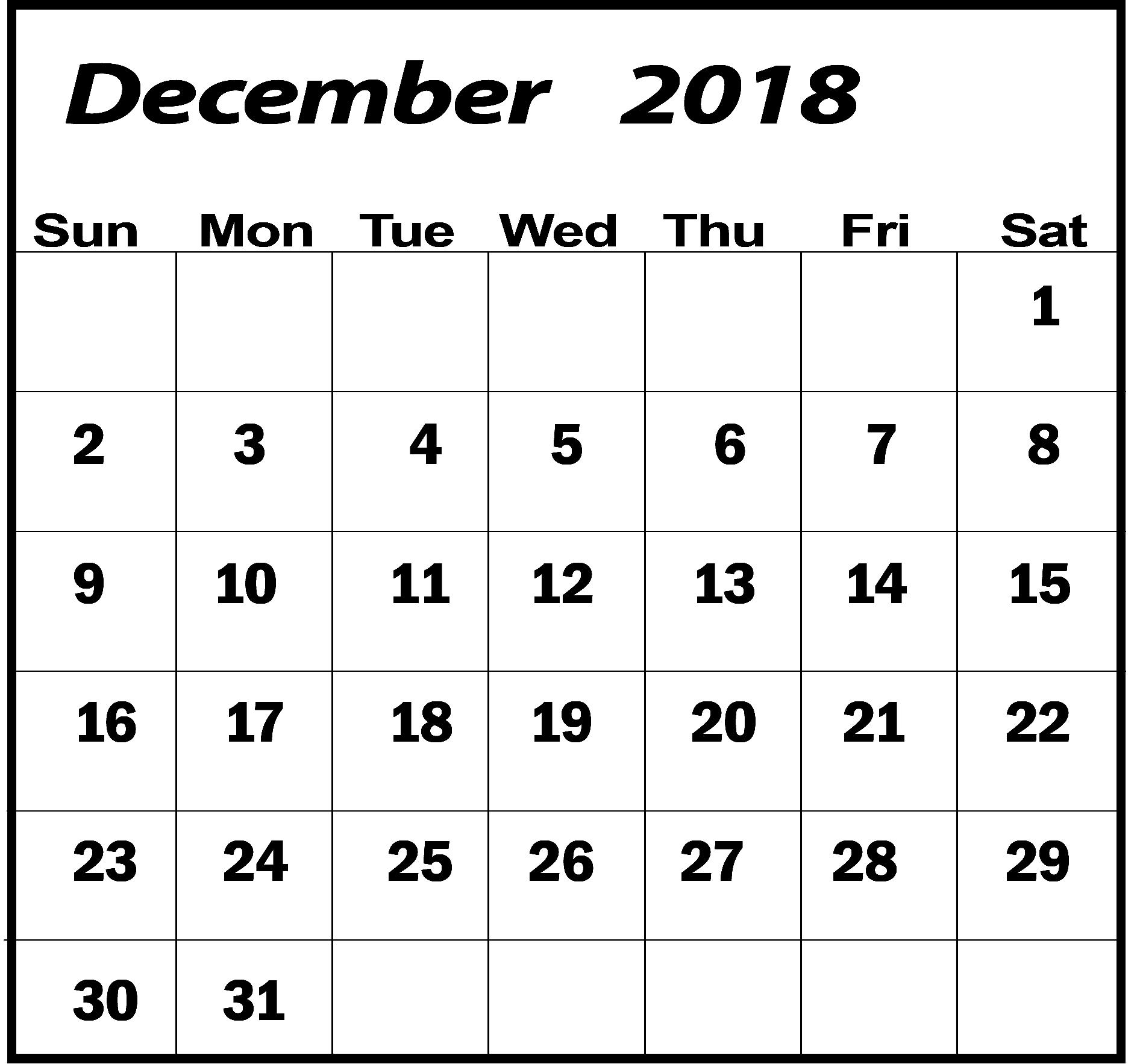 December 2018 Calendar Usa Printable Blank Template With