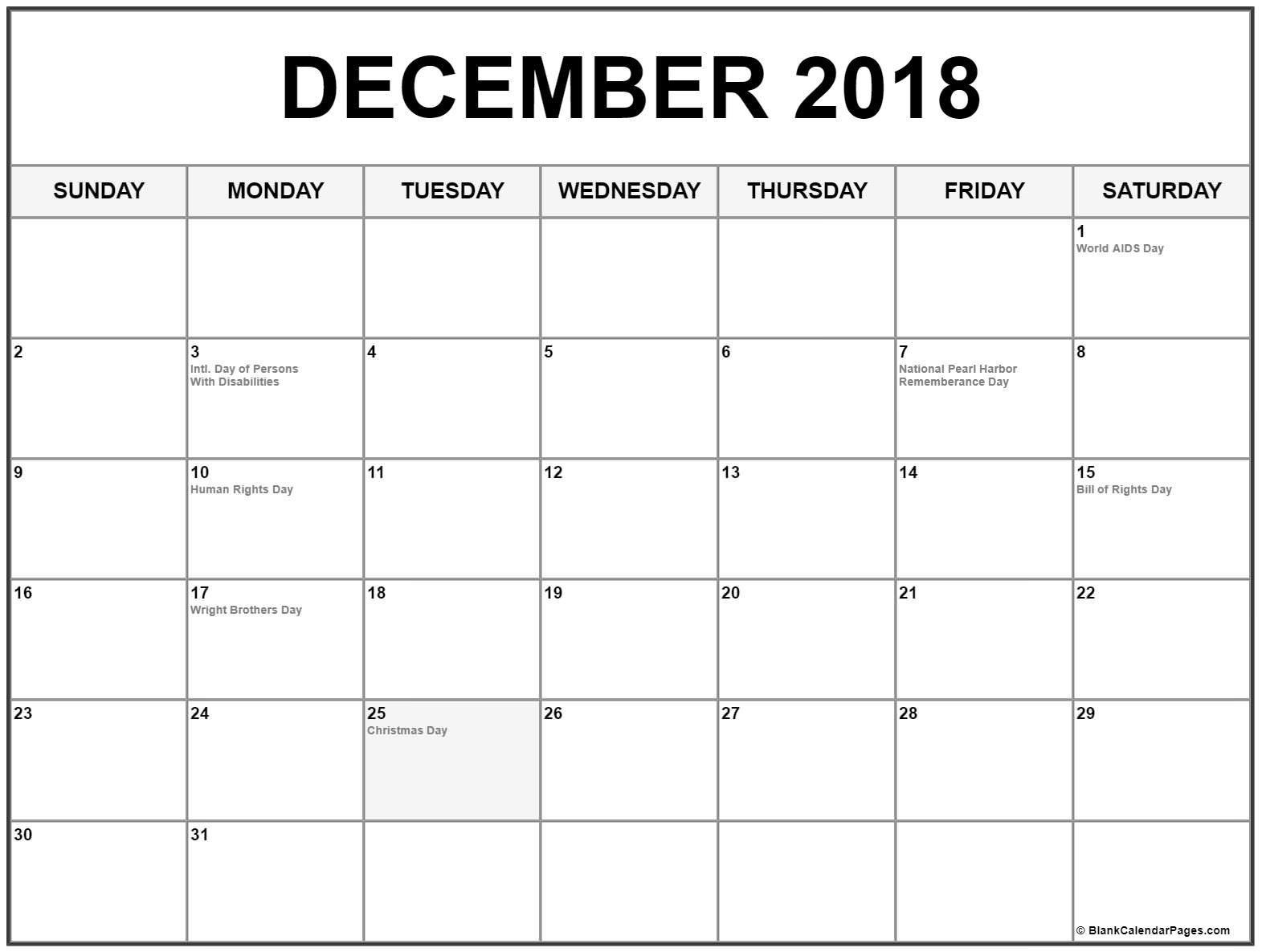 December 2018 Holidays Calendar December Calendar 2018