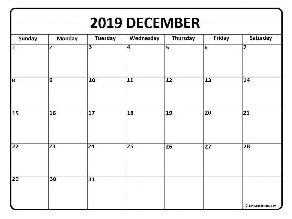 December 2019 Calendar Printable Template In Pdf Word