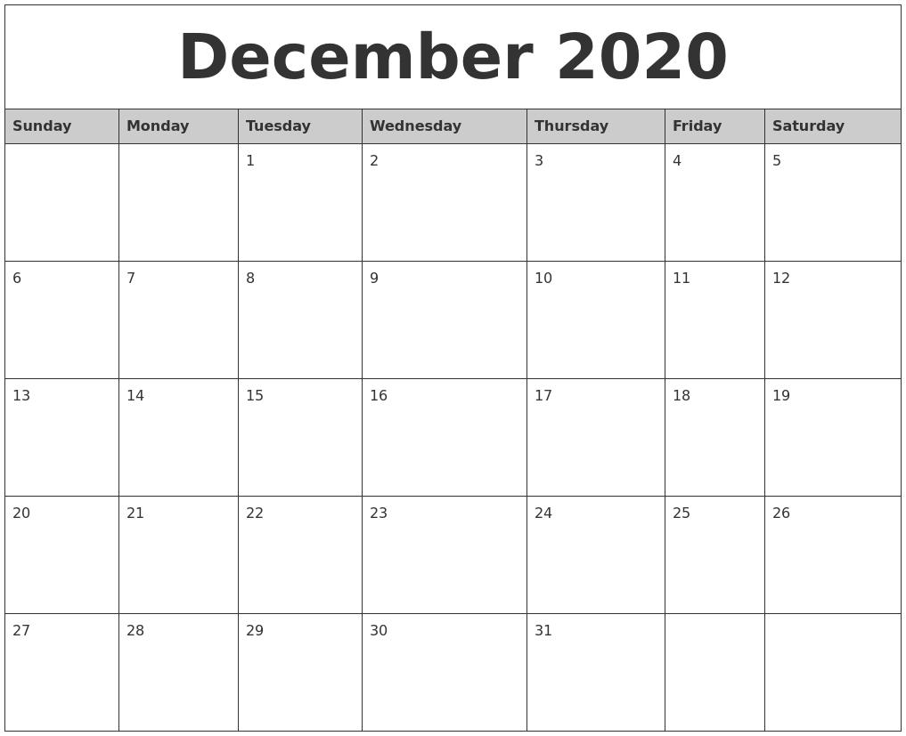 December 2020 Monthly Calendar Printable