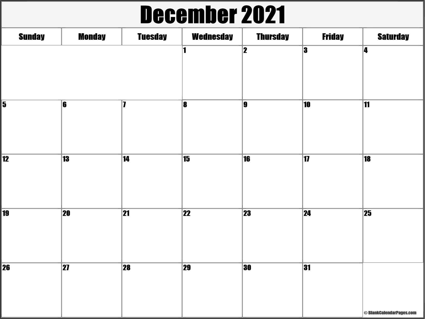 December 2021 Blank Calendar Templates