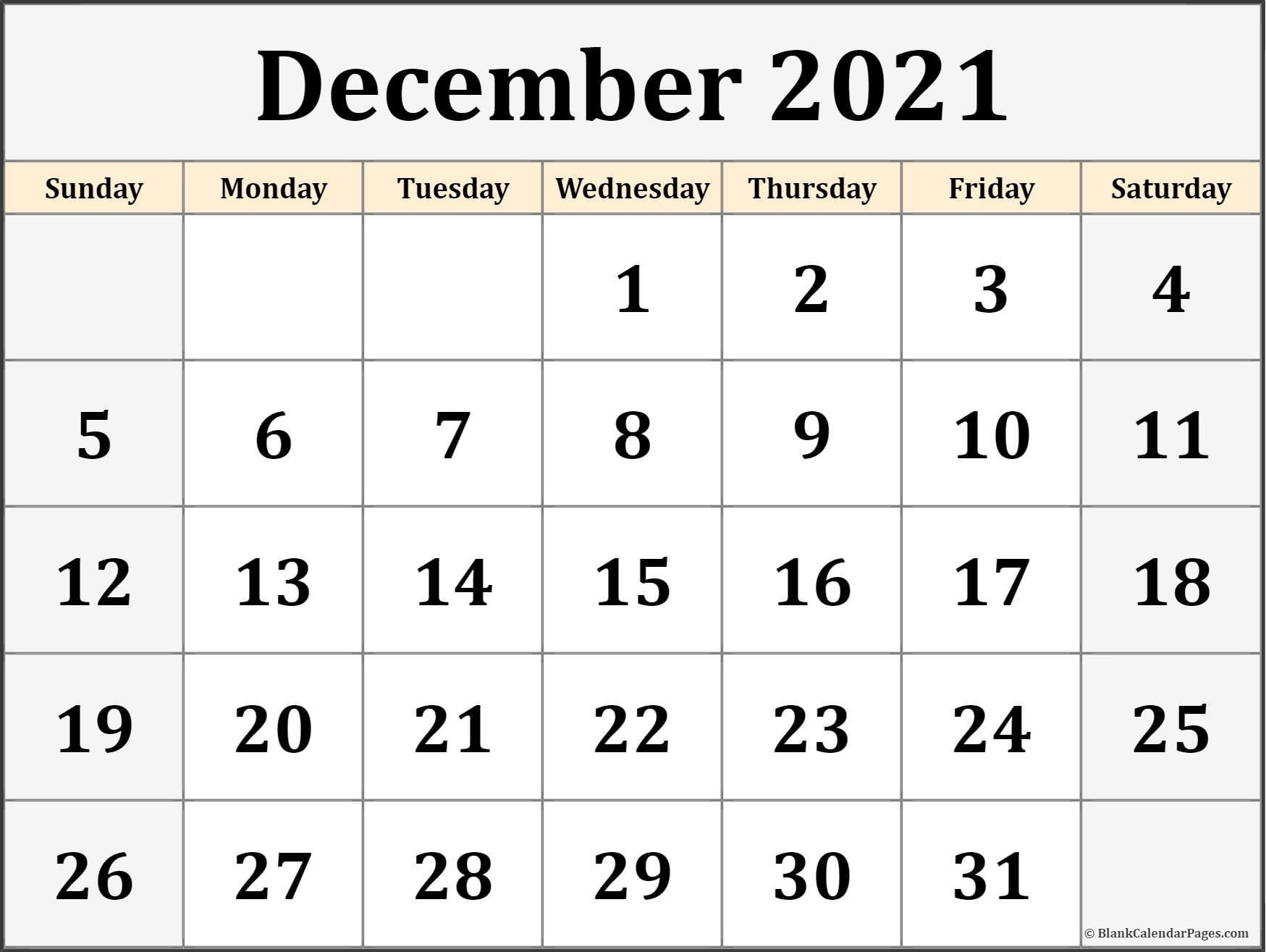 December 2021 Calendar Free Printable Monthly Calendars 1