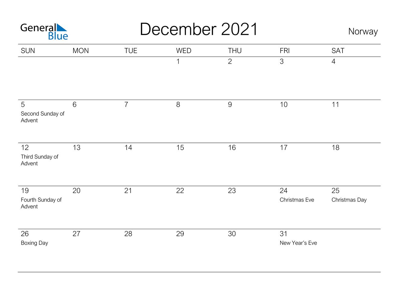 December 2021 Calendar Norway