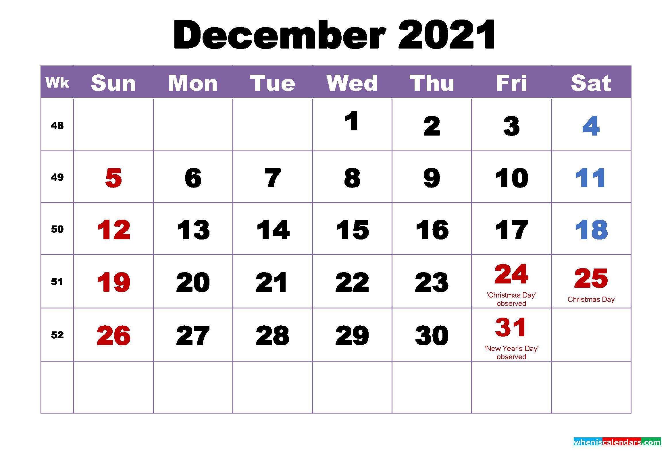 December 2021 Printable Calendar With Holidays Word Pdf
