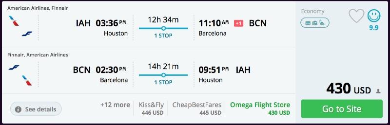 Denver Or Houston To Barcelona Spain From 430 R T Oneworld