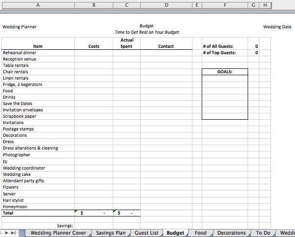 Digital Wedding Planner Editable Excel File Bexbernard