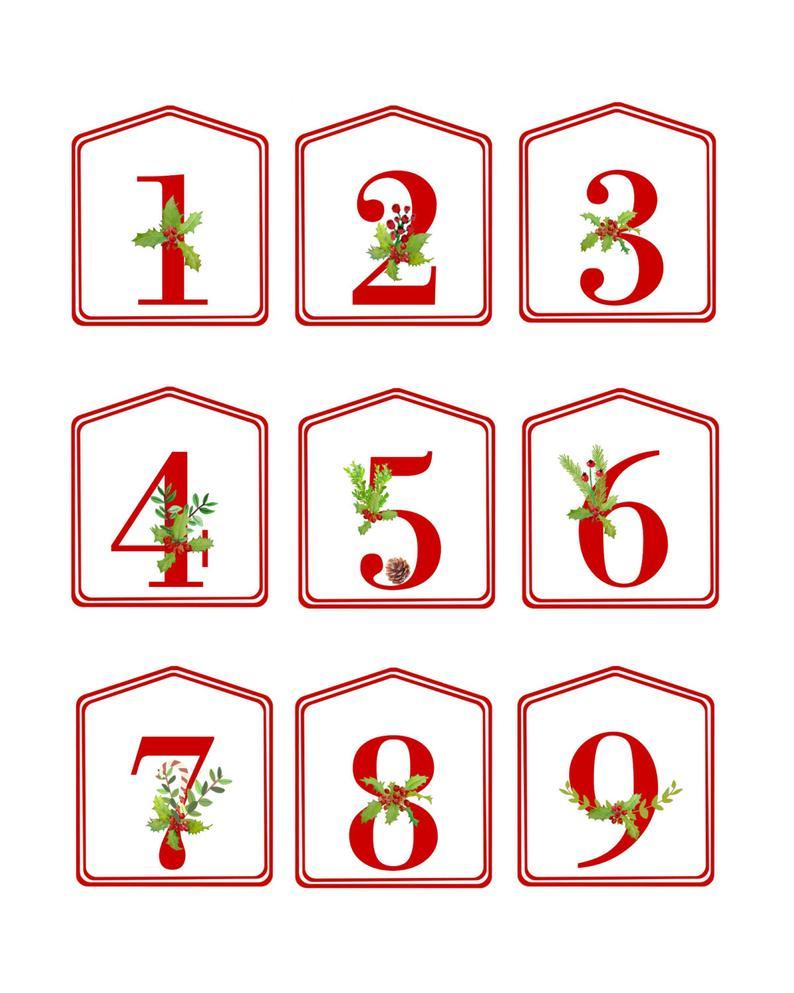 Diy Christmas Advent Calendar Red Printable Numbers 1 25 1