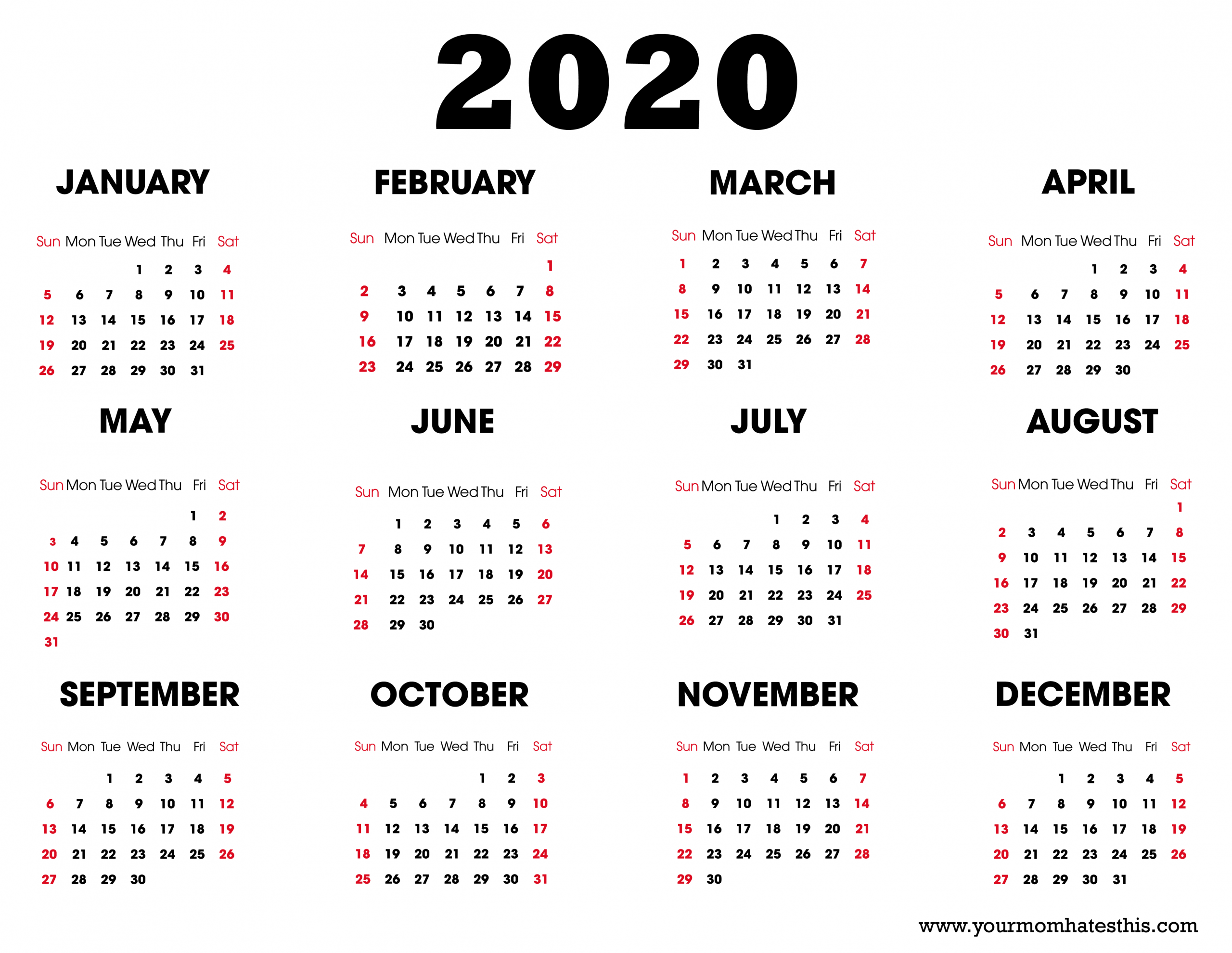 Download 2020 Calendar Pdf Templates