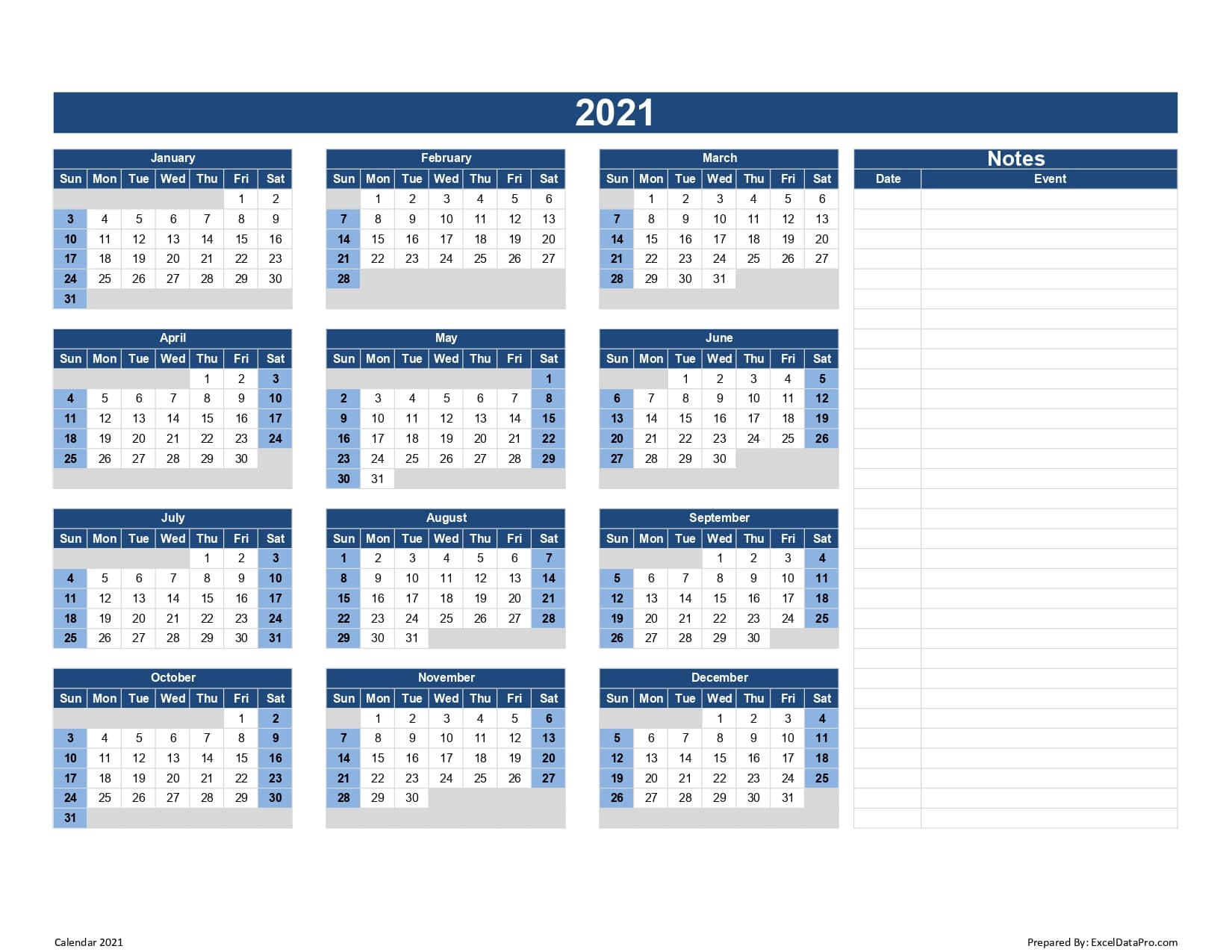 Download 2021 Yearly Calendar Sun Start Excel Template 2