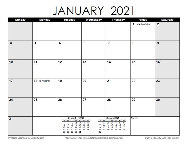 Download A Free Printable Monthly 2021 Calendar From