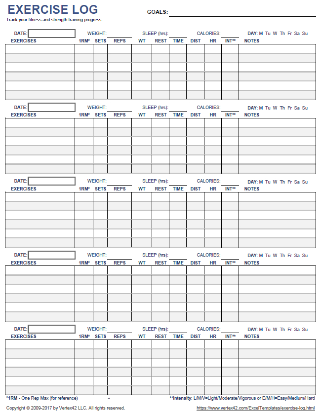 Download A Printable Exercise Log To Track Your Daily