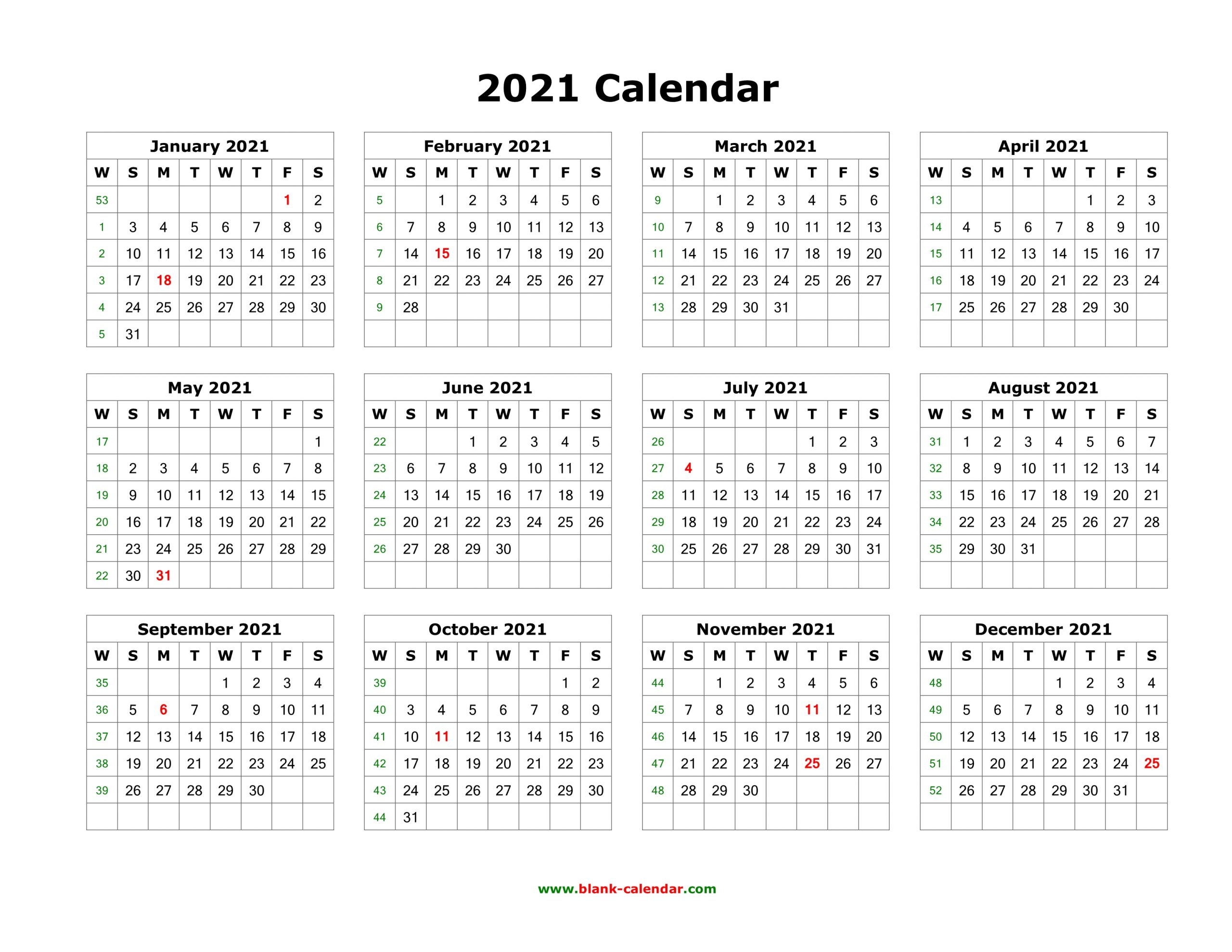 Download Blank Calendar 2021 12 Months On One Page
