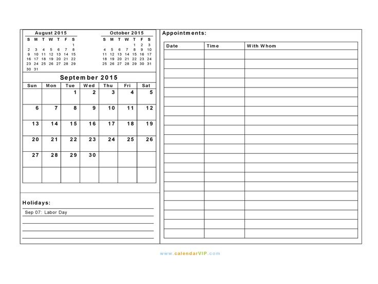 Download Free September 2015 Calendar Note And Events For
