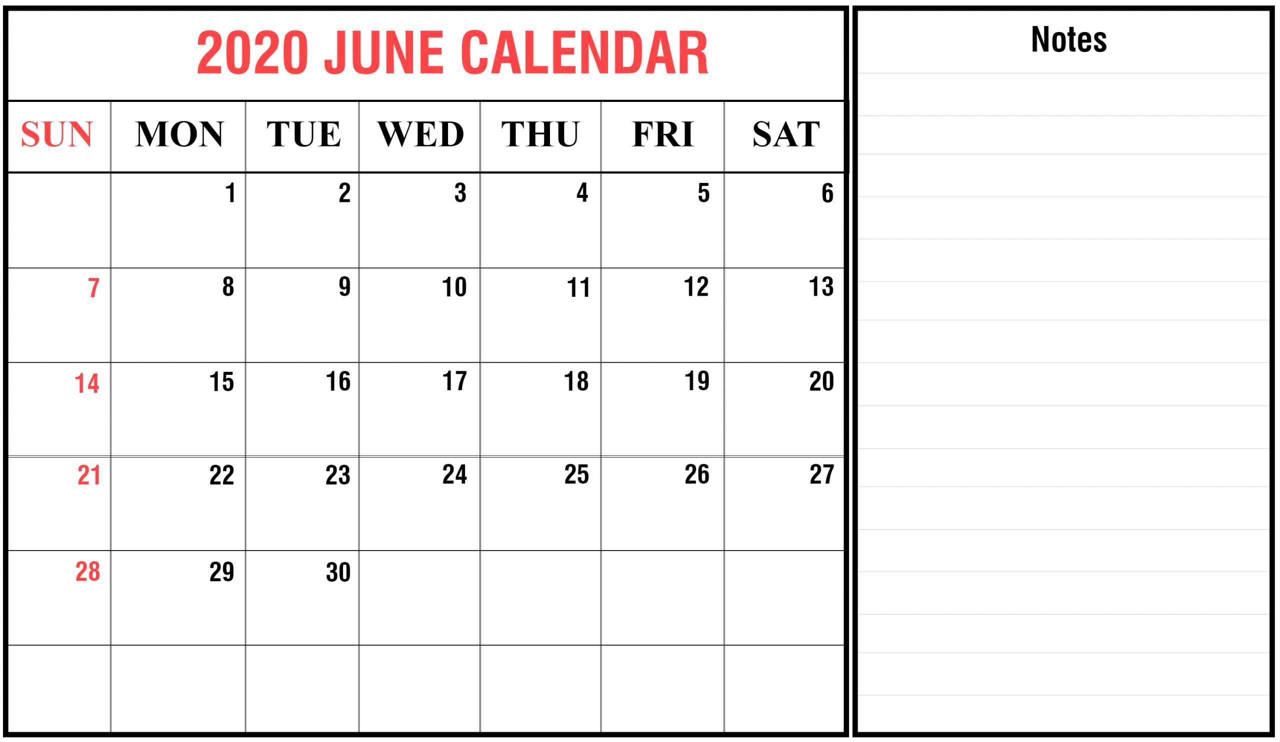 Download June 2020 Calendar Printable Templates Pdf