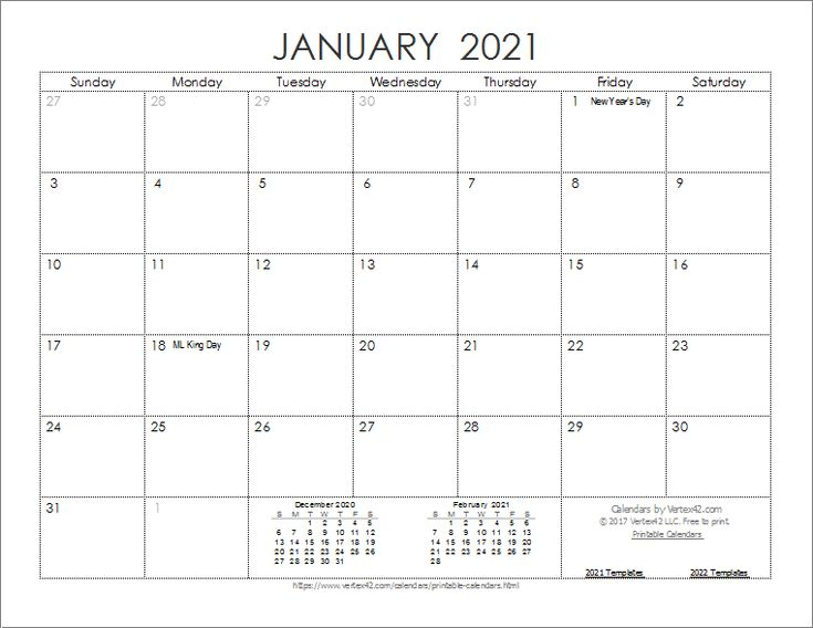Download The 2021 Ink Saver Calendar From Vertex42 In 1