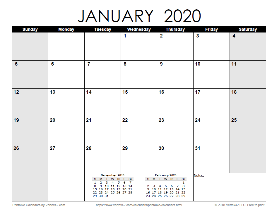 Download The Printable Monthly 2020 Calendar Monthly