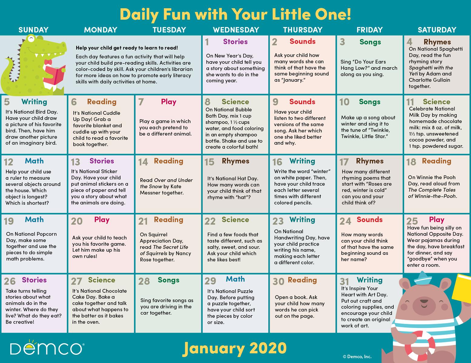 Early Literacy Activities Calendar January 2020