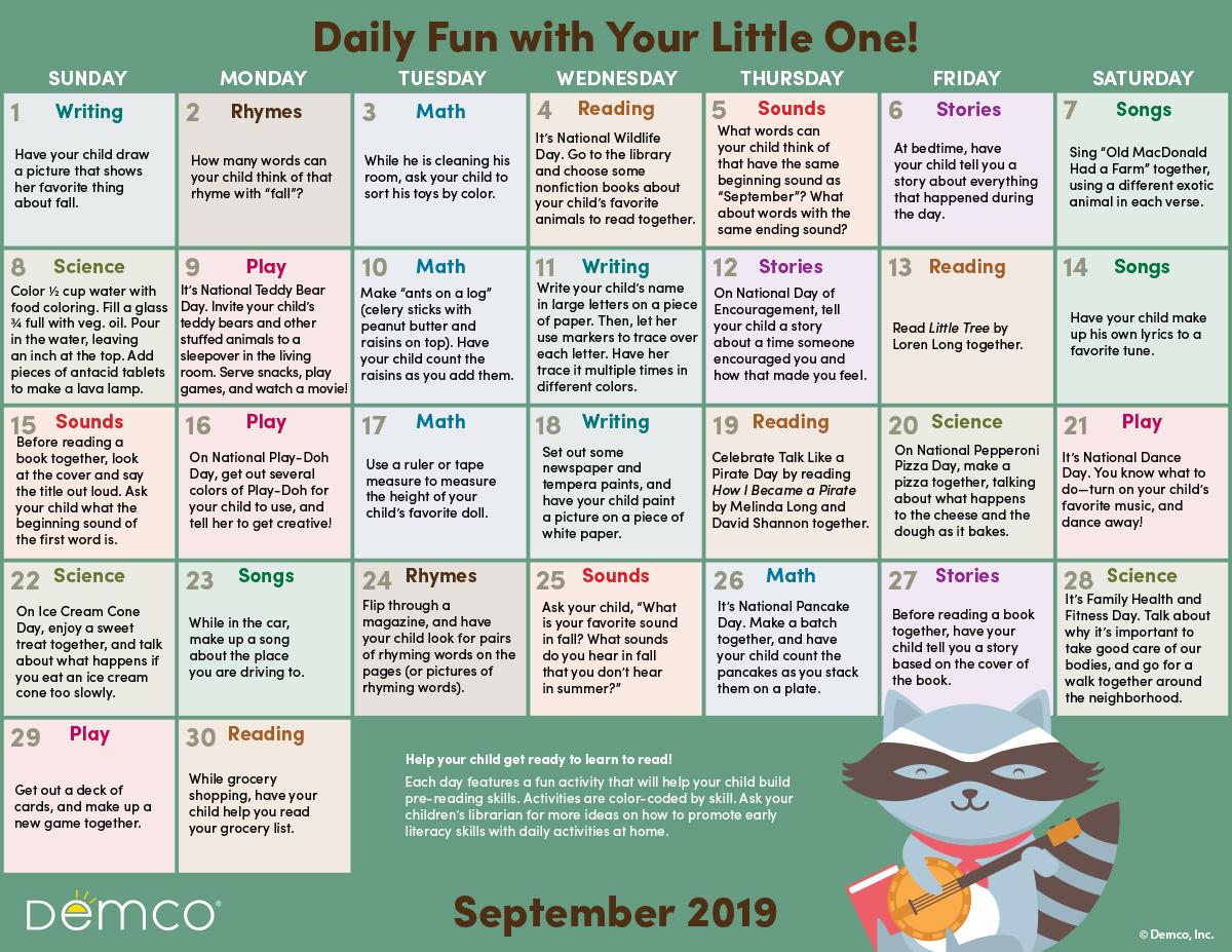 Early Literacy Activities Calendar September 2019 Crafts