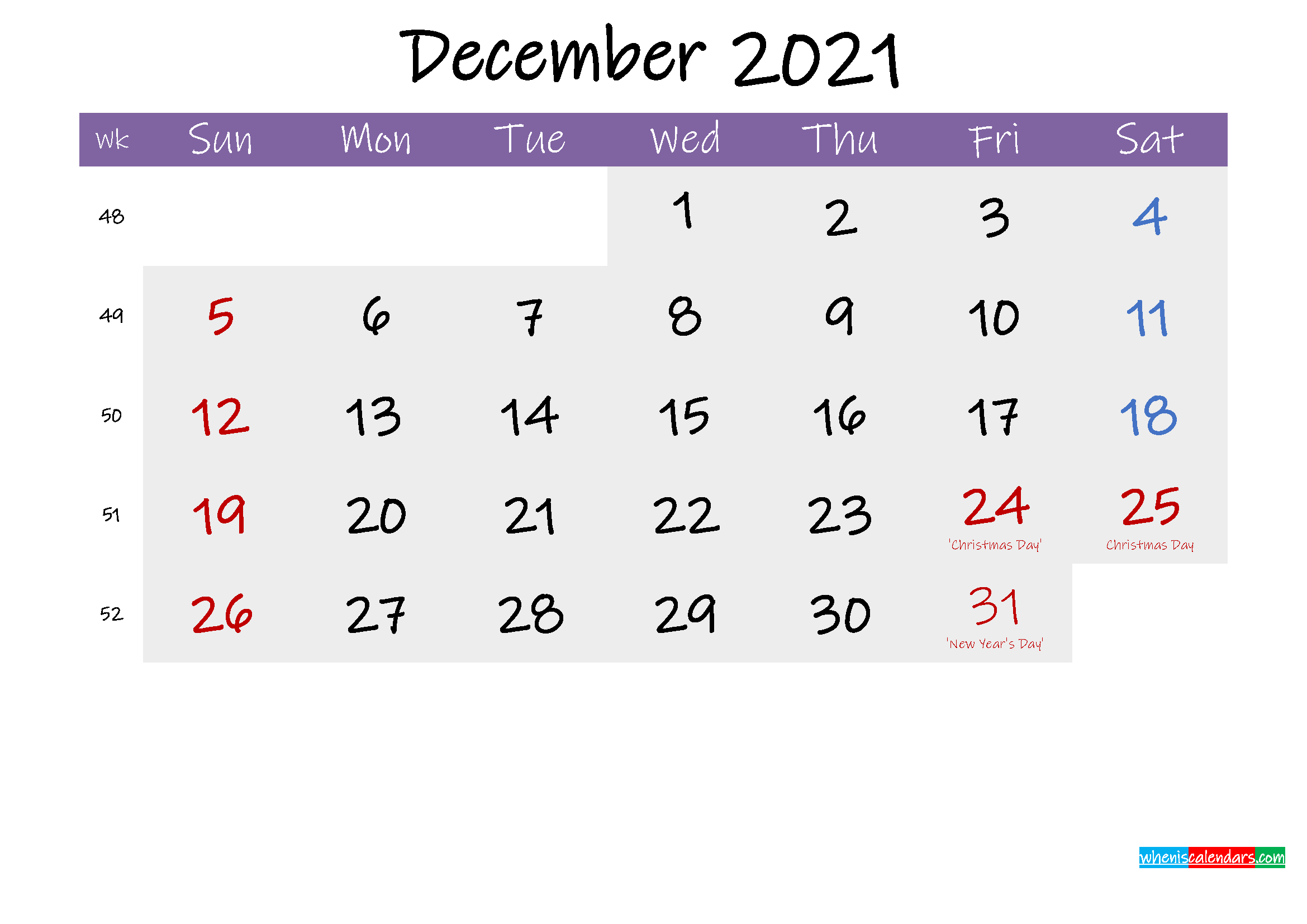 Editable December 2021 Calendar Word Template No