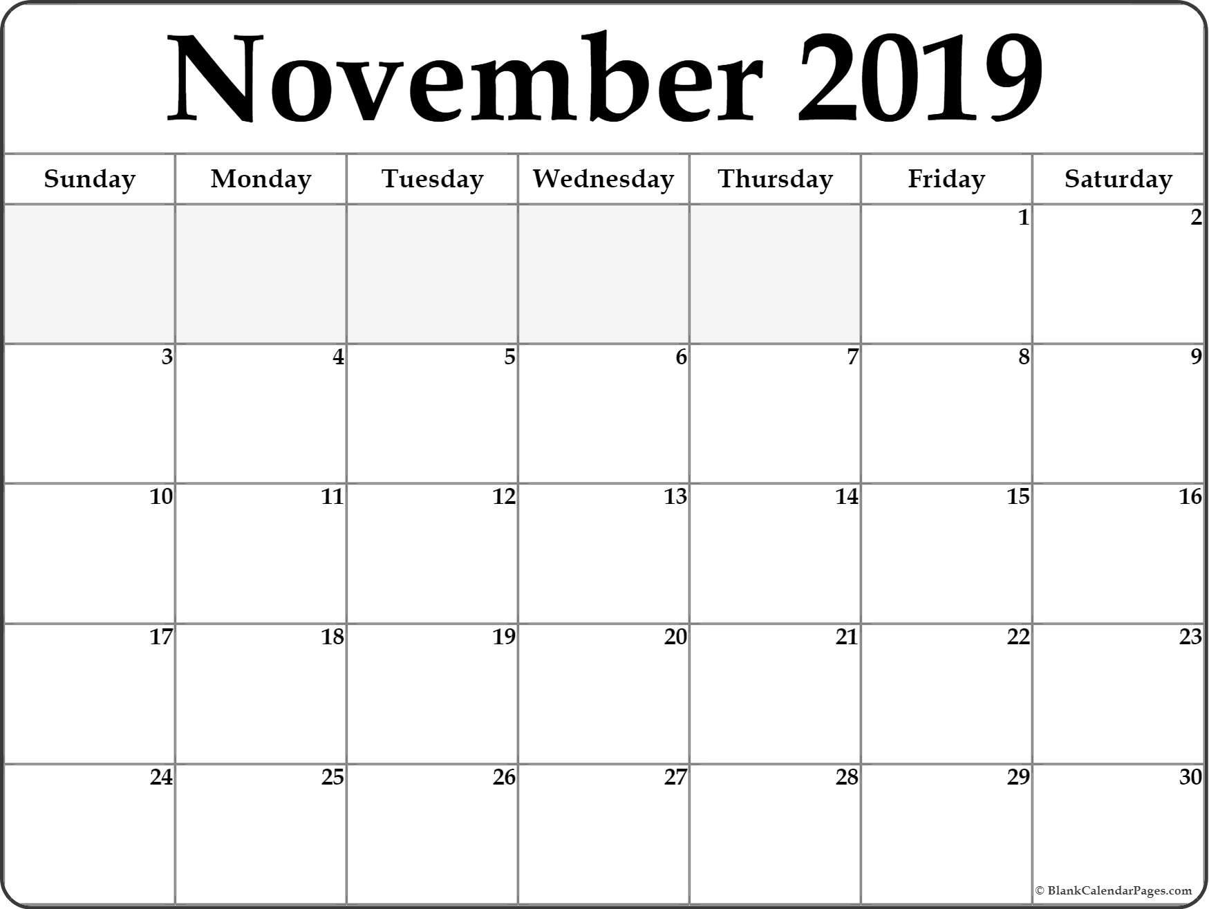Editable November 2019 Printable Calendar Word Pdf