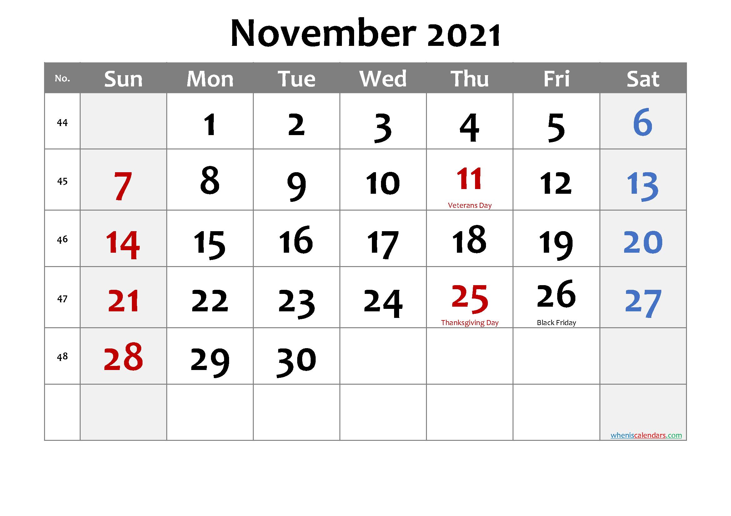Editable November 2021 Calendar Template No Cd21m23 Free
