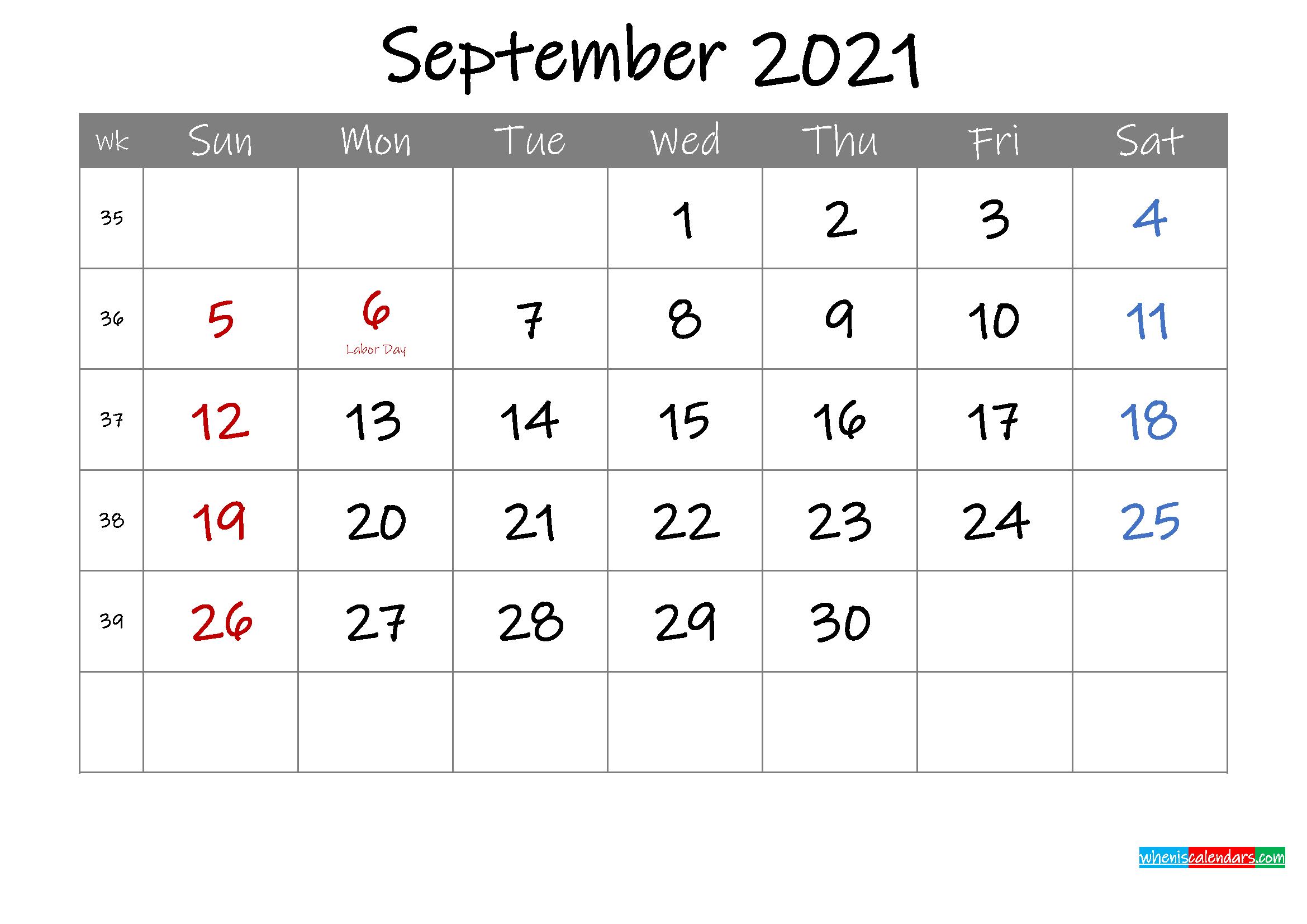 Editable September 2021 Calendar With Holidays Template