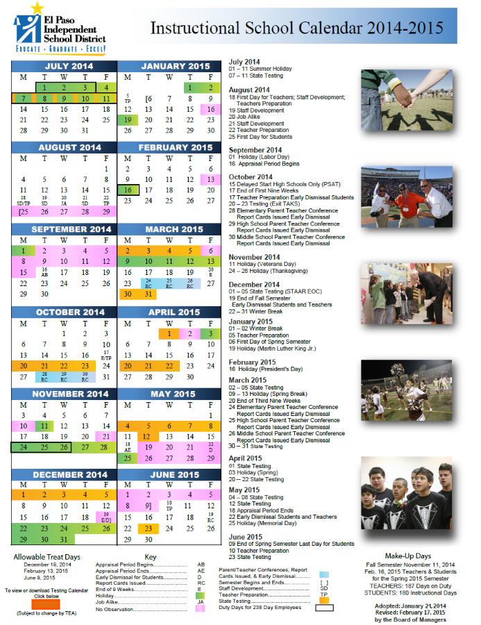 El Paso Isd Calendar Calendar Template 2020