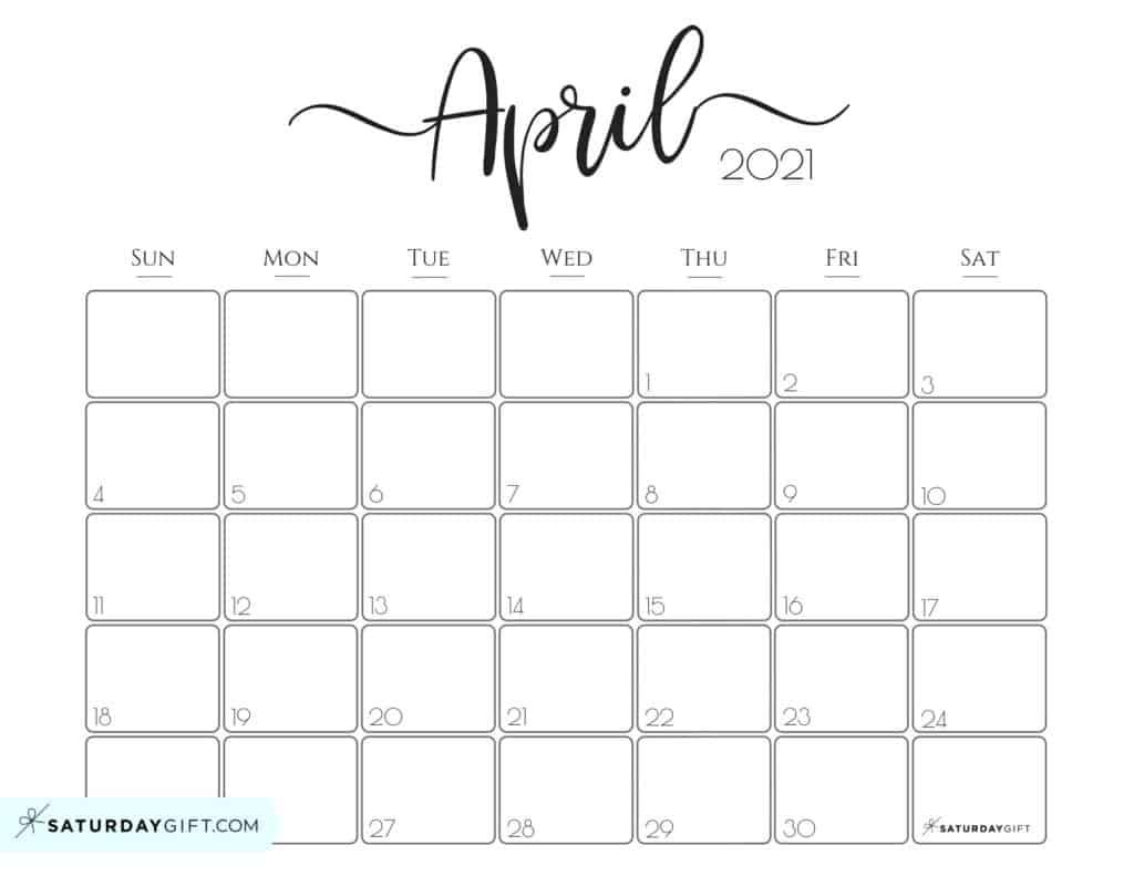 Elegant 2021 Calendarsaturdaygift Pretty Printable 1