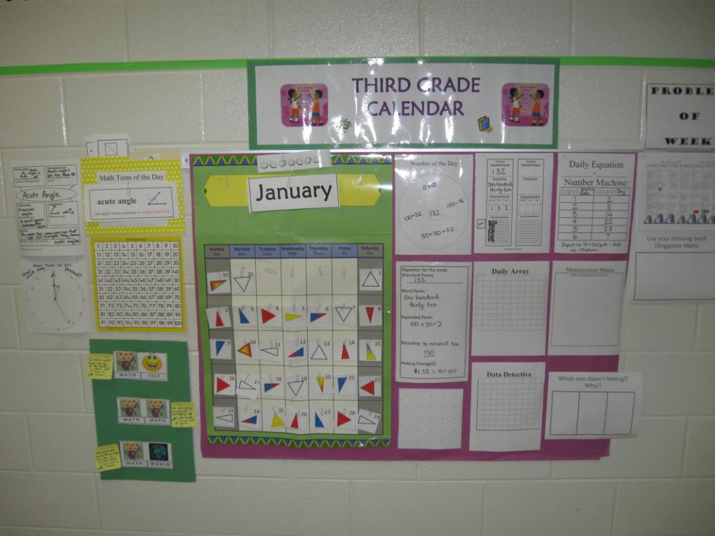 Everyday Counts Calendar Pieces For Third Grade Calendar 1