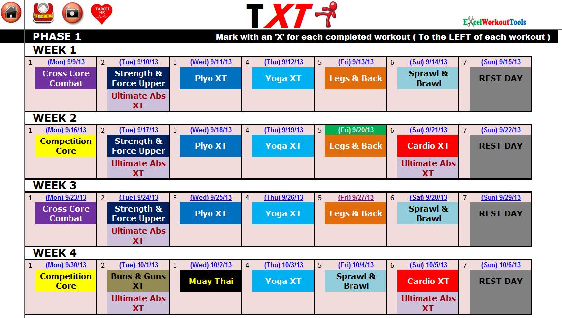 Excel Spreadsheet Workout Calendar Exercise Tracker Tool 1