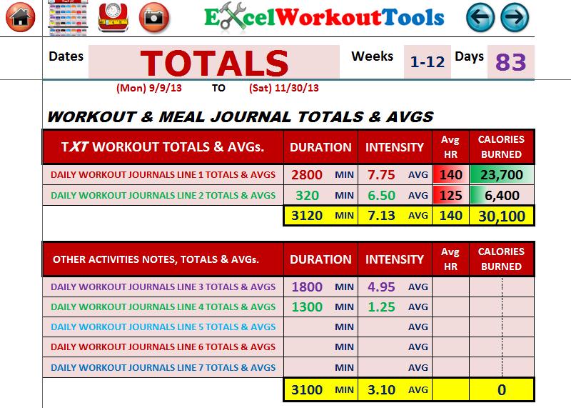 Excel Spreadsheet Workout Calendar Exercise Tracker Tool