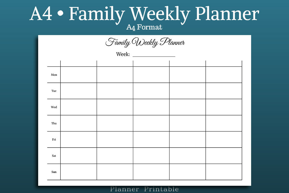 Family Weekly Planner A4 Size Printable Pdf Undated