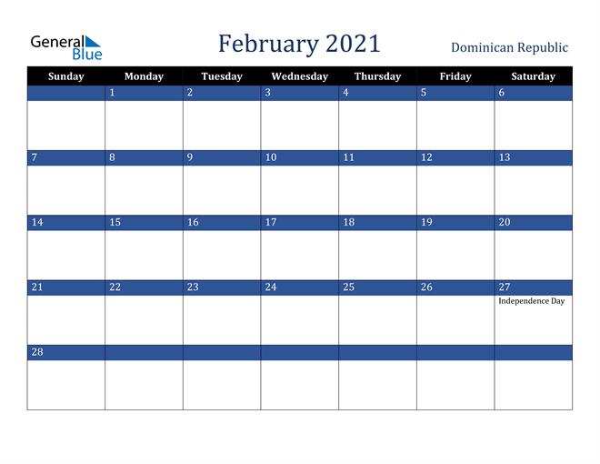February 2021 Calendar Dominican Republic 2