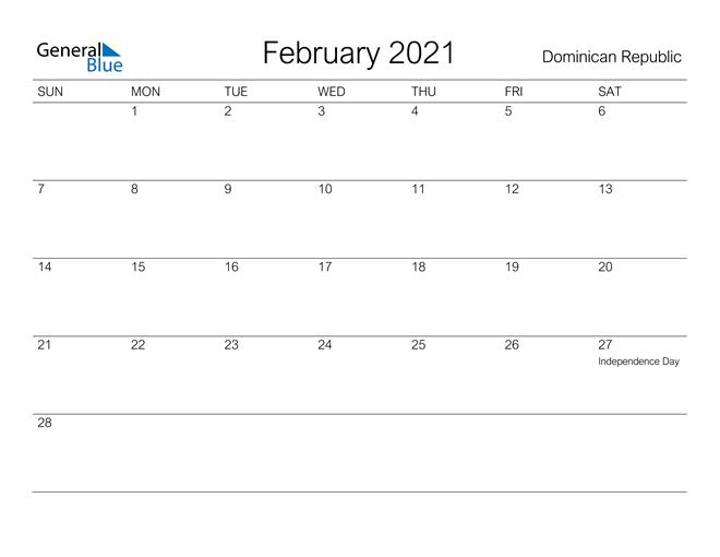 February 2021 Calendar Dominican Republic