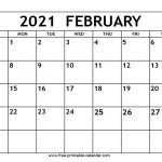 February 2021 Calendar Free Printable Calendar