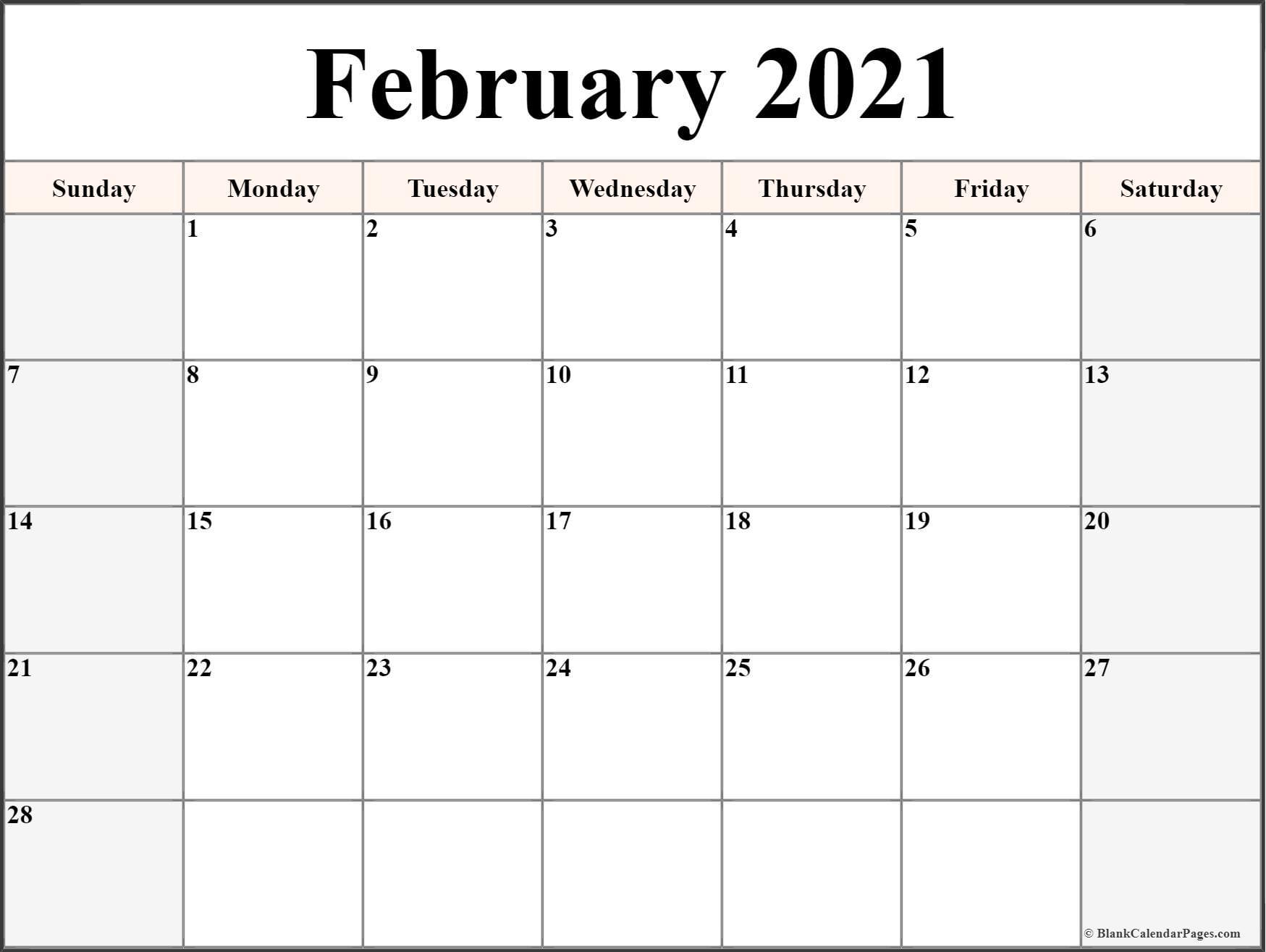 February 2021 Calendar Free Printable Monthly Calendars 1