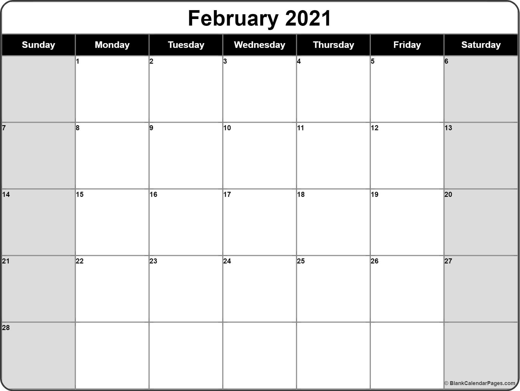 February 2021 Calendar Free Printable Monthly Calendars 3