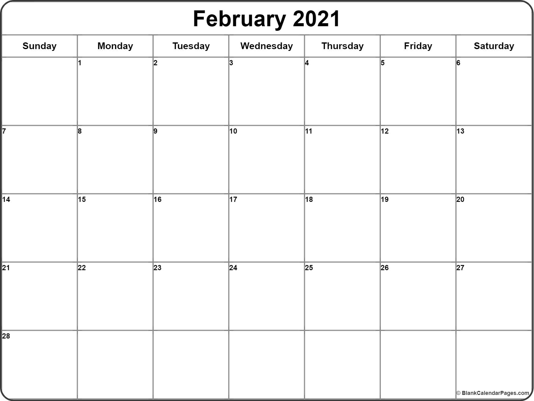 February 2021 Calendar Free Printable Monthly Calendars