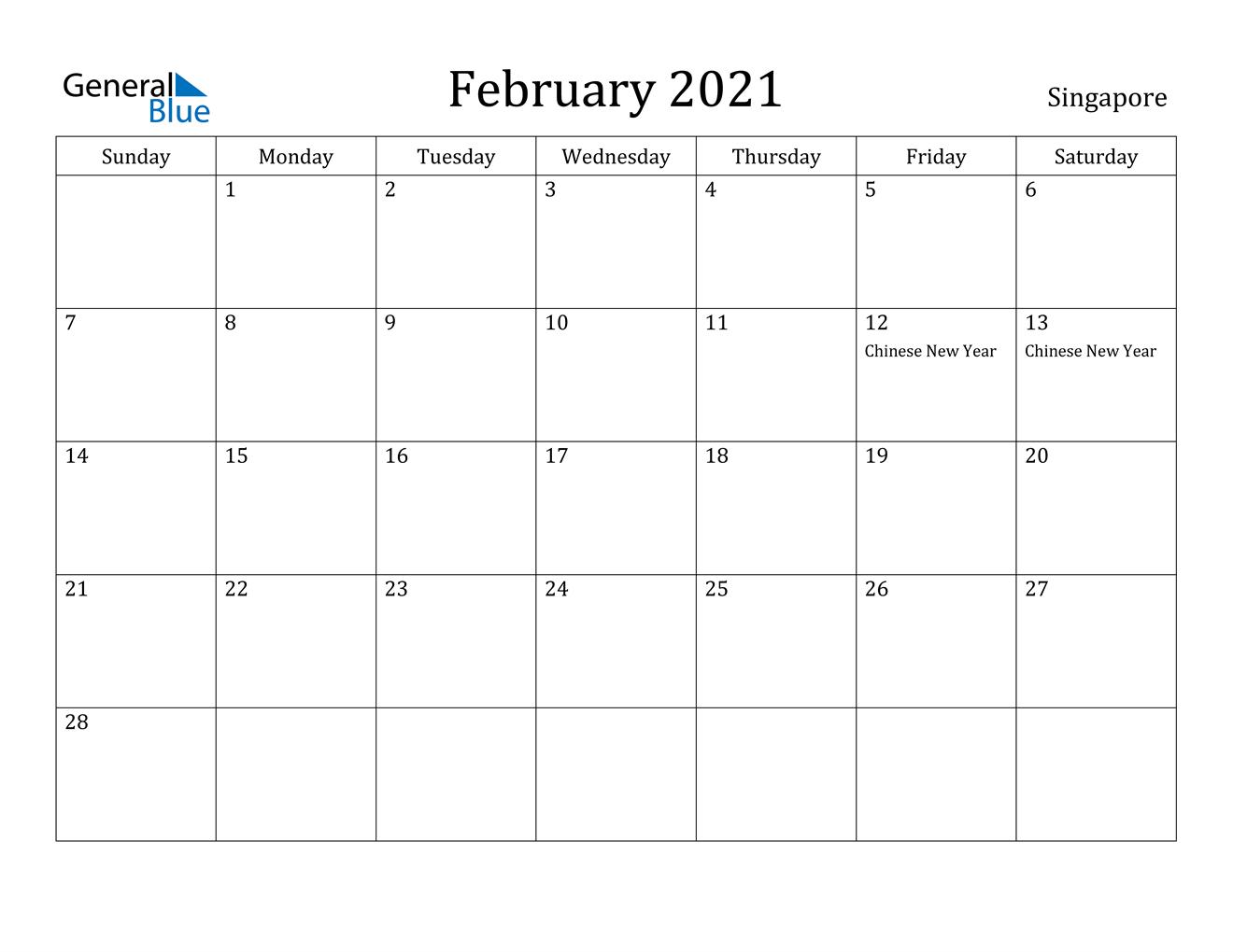 February 2021 Calendar Singapore