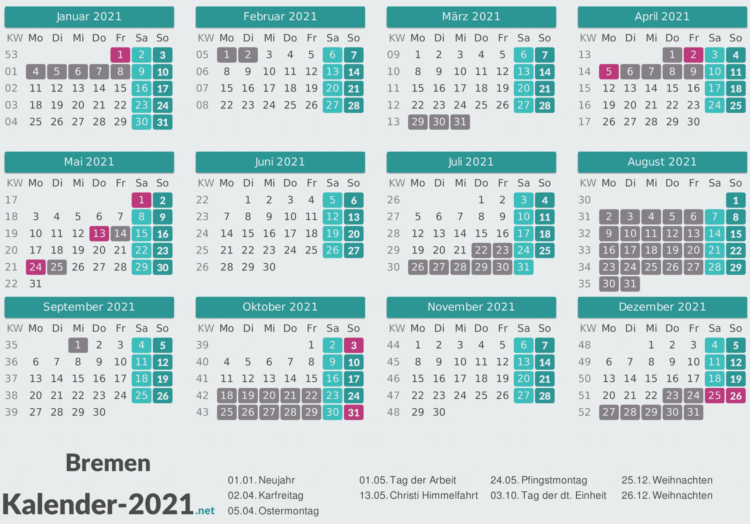 Ferien Bremen 2021 Ferienkalender Ubersicht