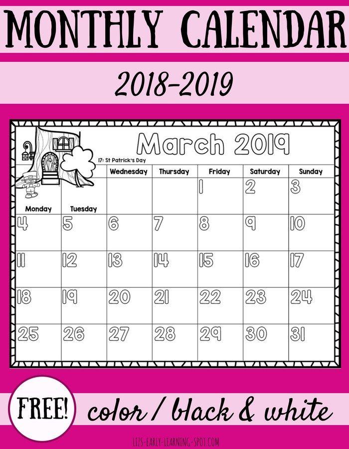 Free 2018 2019 Monthly Calendars For Kids Kids Calendar