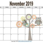 Free 2019 Monthly Printable Calendars Owl Themed