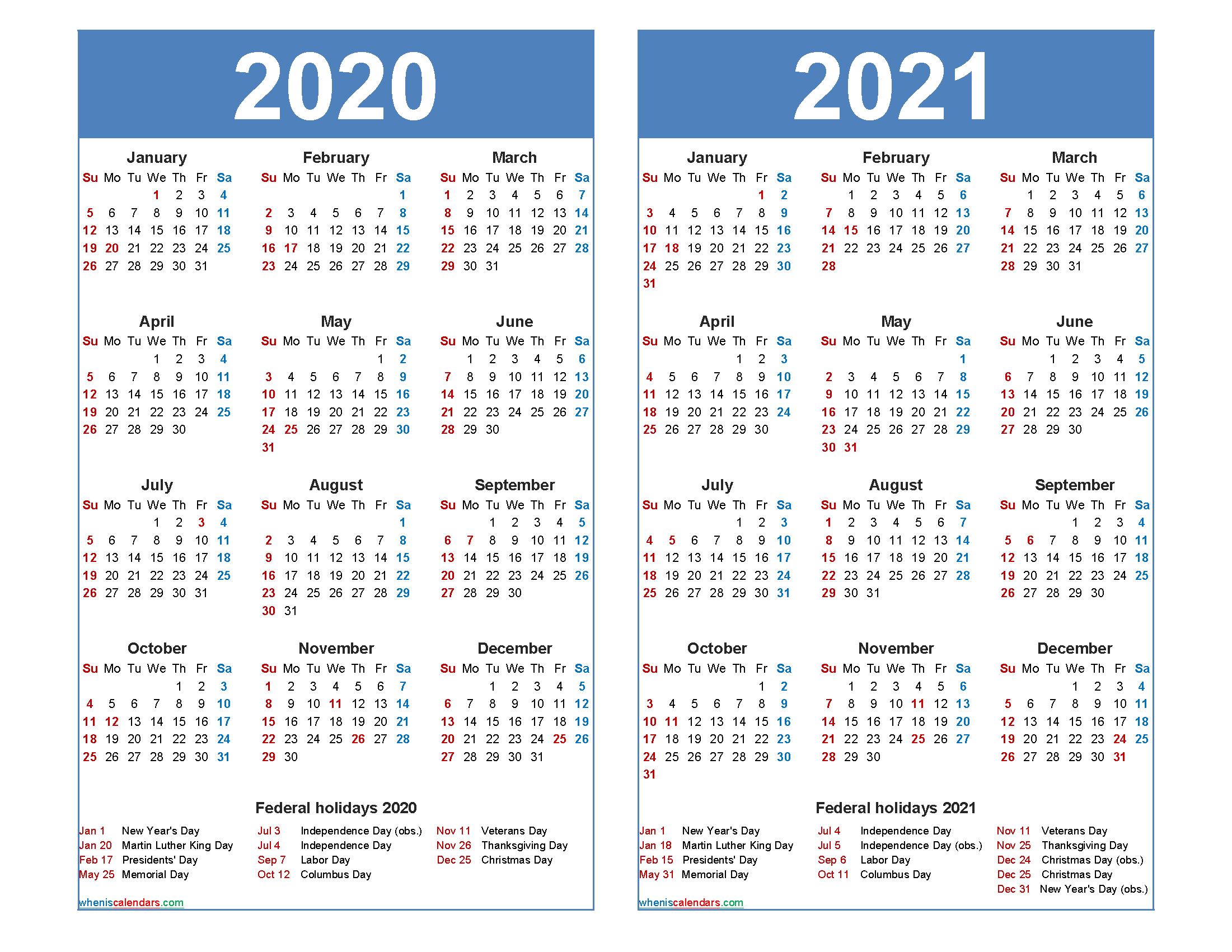 Free 2020 2021 Calendar Printable With Holidays Free