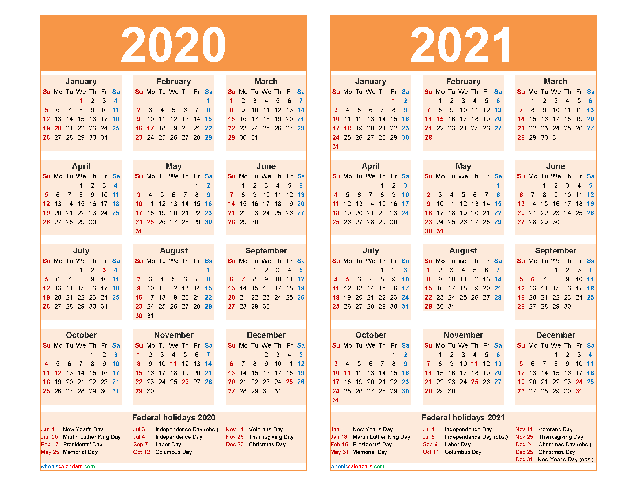 Free 2020 And 2021 Calendar Printable Word Pdf Free
