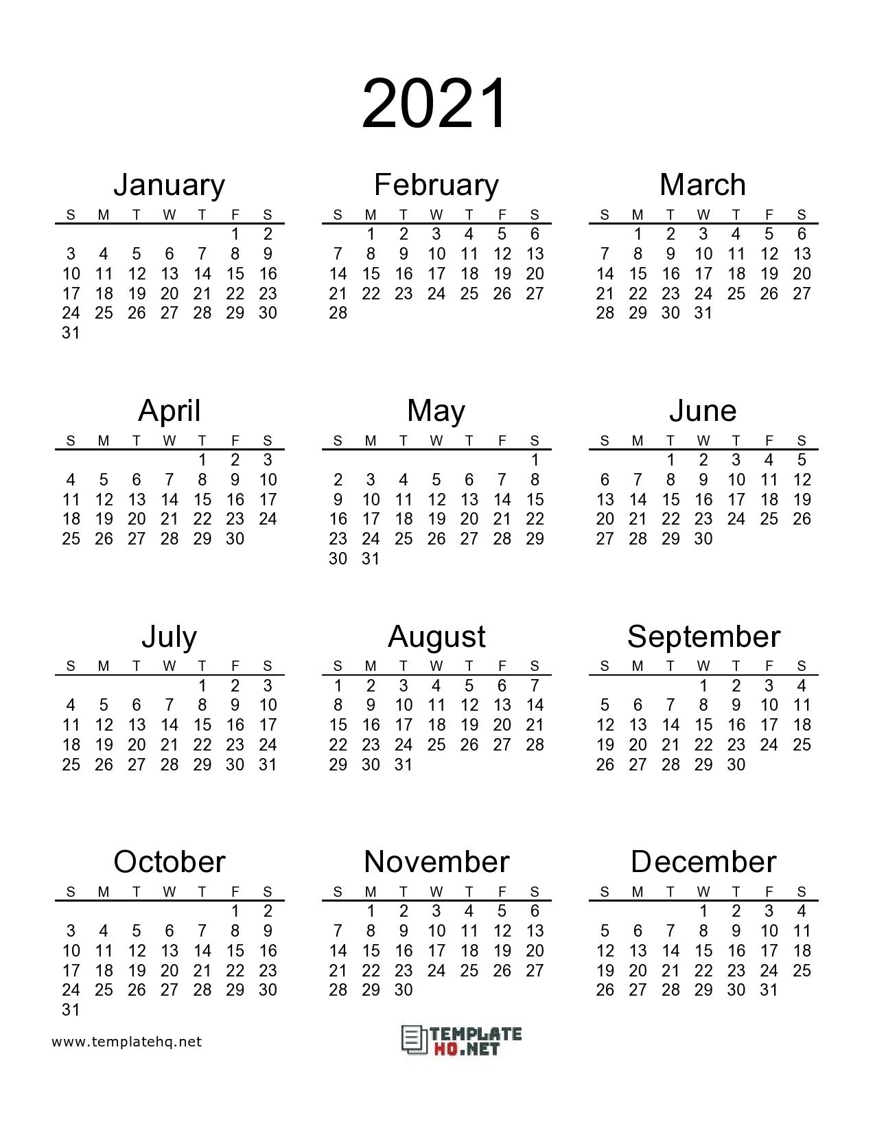 Free 2021 Calendar Printable Template Hq 1
