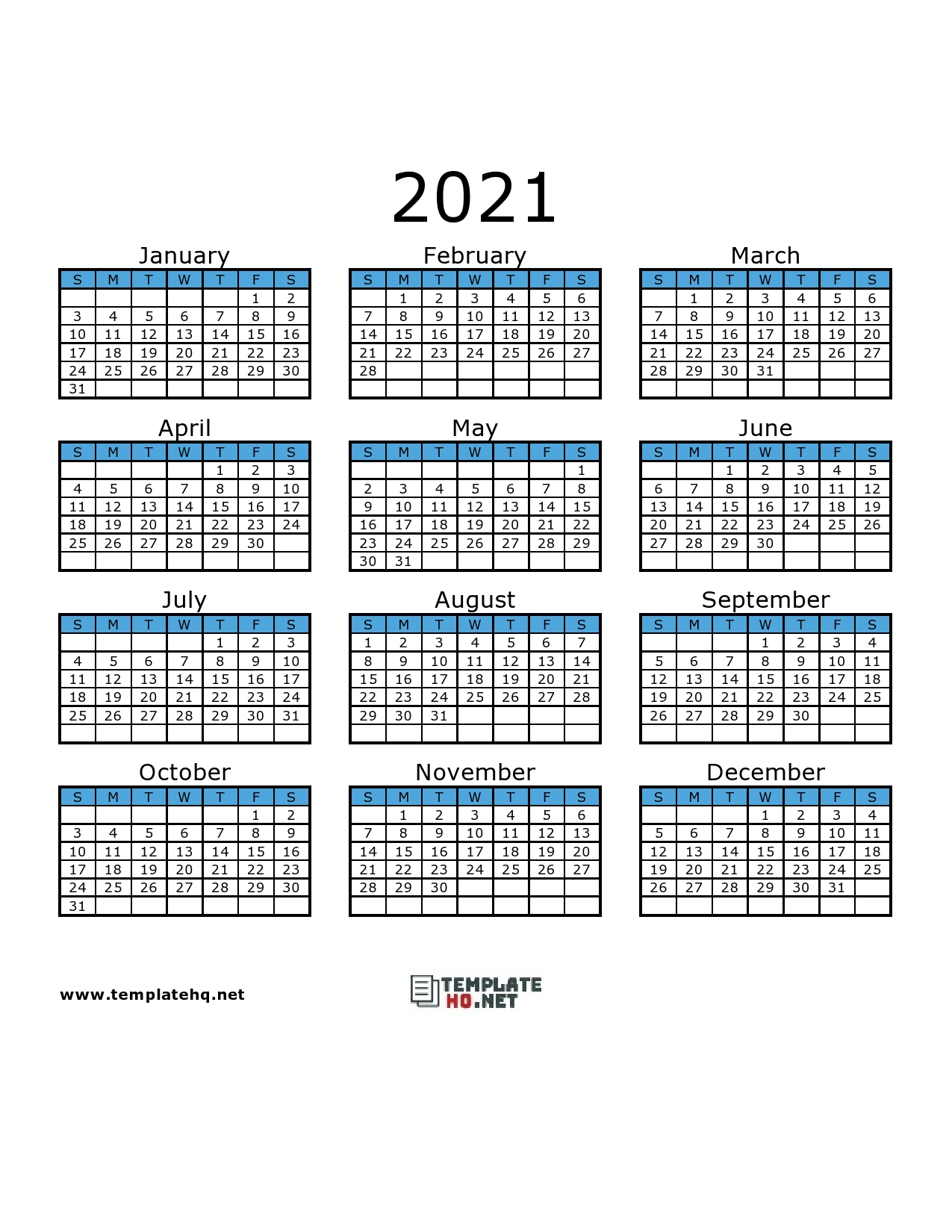 Free 2021 Calendar Printable Template Hq 2