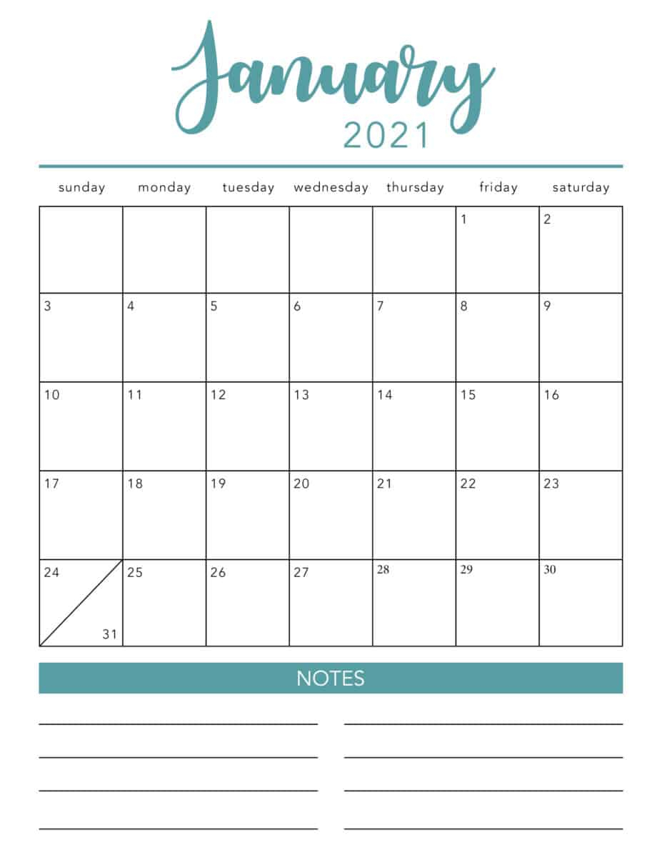 Free 2021 Printable Calendar Template 2 Colors I