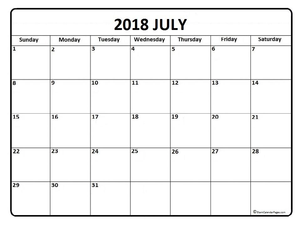 Free 5 July 2018 Calendar Printable Template Source